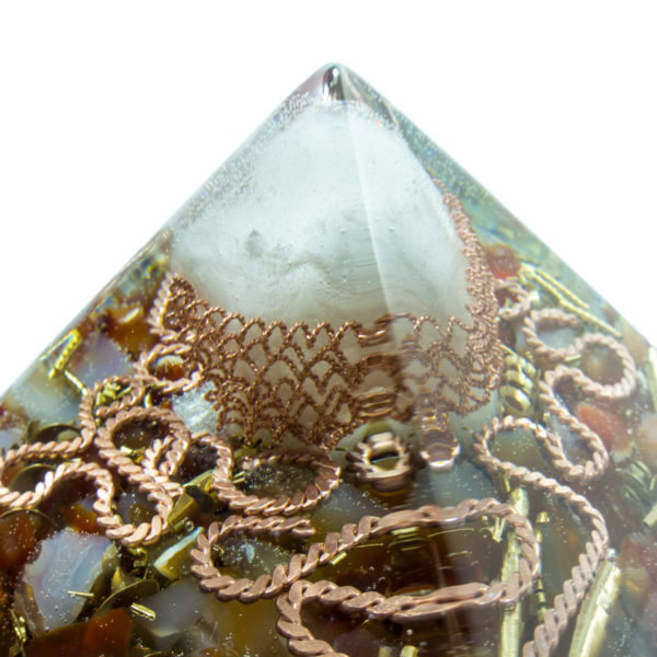 Orgonite Pyramid - Crystal quartz, Carnelian