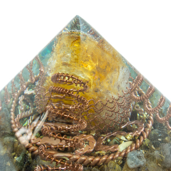 Orgonite Pyramid - Crystal Citrine, Rutilated Quartz