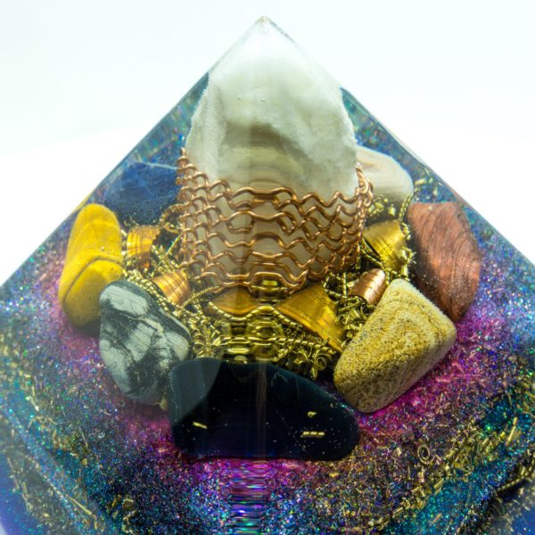 Big Orgonite Pyramid - Crystal Quartz, Bulls-eye, Sodalite, Pink agate, Jasper patterned, Tiger's Eye, Silver Jasper, Falcon stone