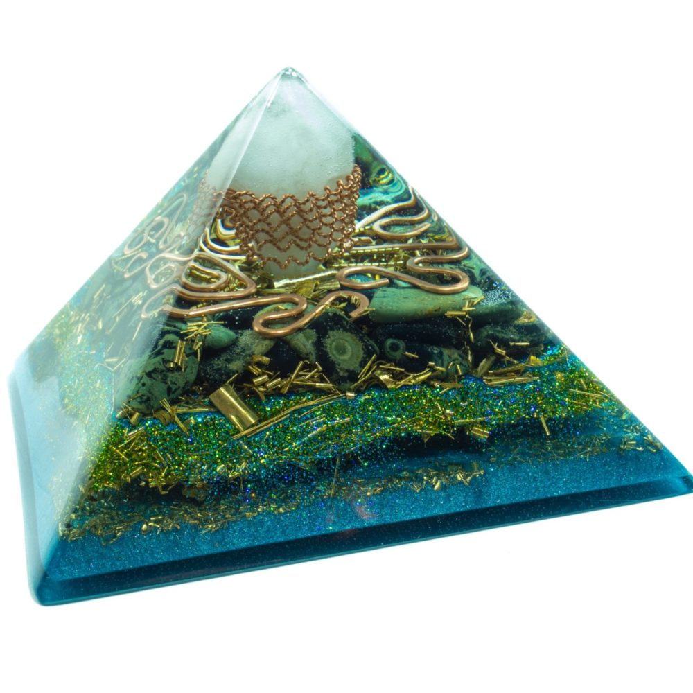 Orgonite Pyramid - Crystal quartz, Ocean jasper