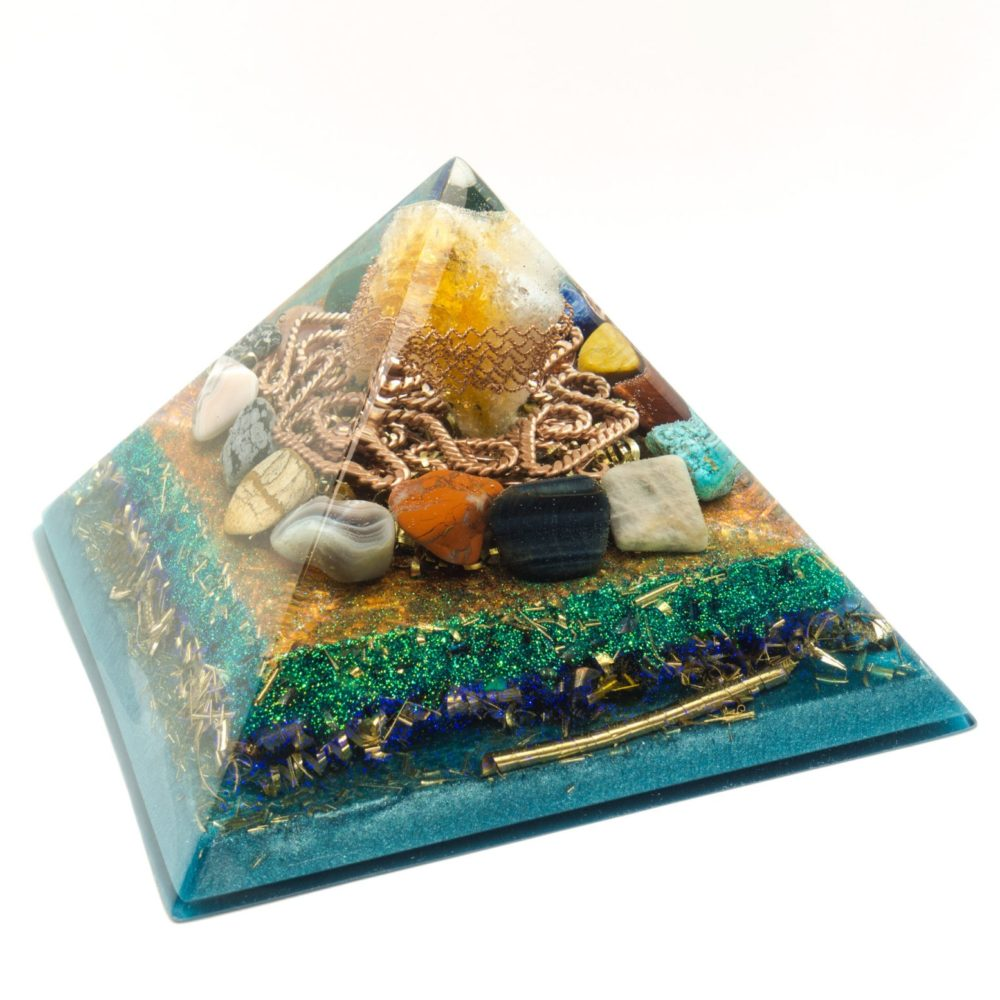 Big Orgonite Pyramid - Crystal Citrine, Bulls-eye, Sodalite, Pink agate, Jasper patterned, Silver Jasper, Falcon stone, Brecciated Jasper, Turkenite, Gray agate, Moonstone, Rose Quartz, Snowflake obsidian, Heliotrope, Yellow-Jasper