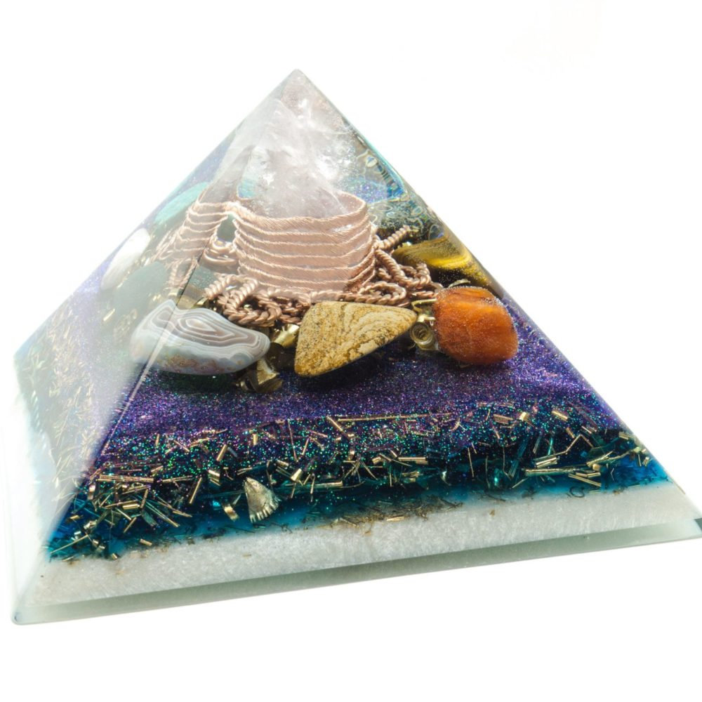 Big Orgonite Pyramid - Rose Quartz, Tortoise Agate, Pink agate, Jasper patterned, Gray agate, Heliotrope, Amazonite, Tiger's Eye, Carnelian