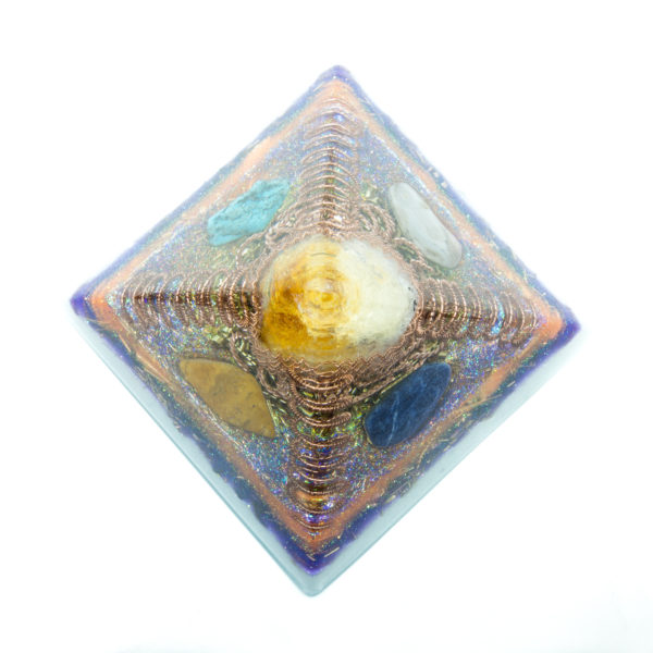 Orgonite Pyramid - Crystal Citrine, Yellow-Jasper, Turkenite, Pink agate, Sodalite
