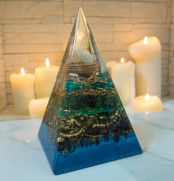 High Orgone Pyramid for Healing with Malachite and Jade