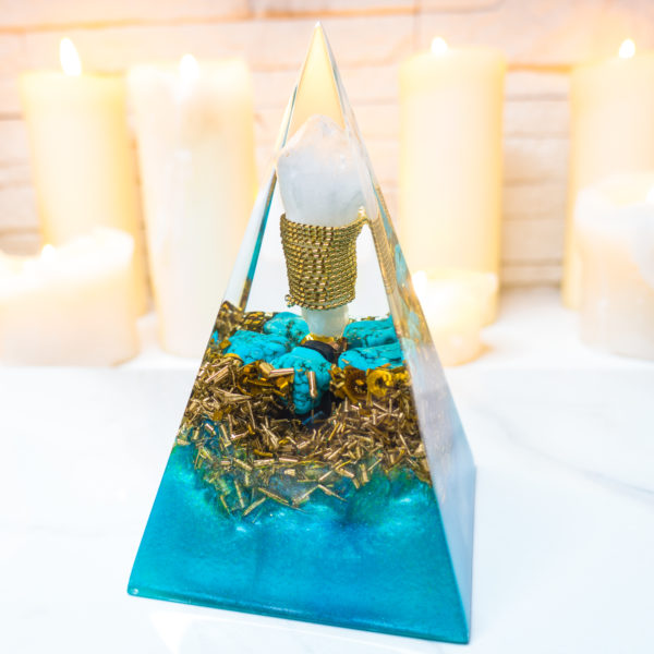 Orgone pyramid with Turkenite and Crystal Quartz