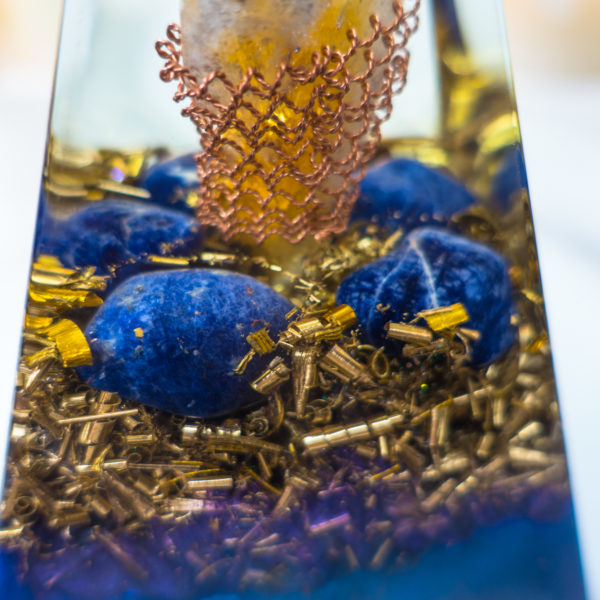 Orgonite pyramid with Sodalite and Crystal Citrine